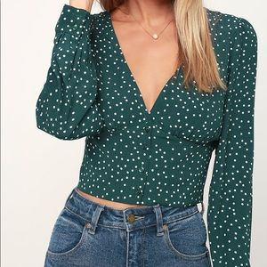 Love Always forest green long sleeve crop top